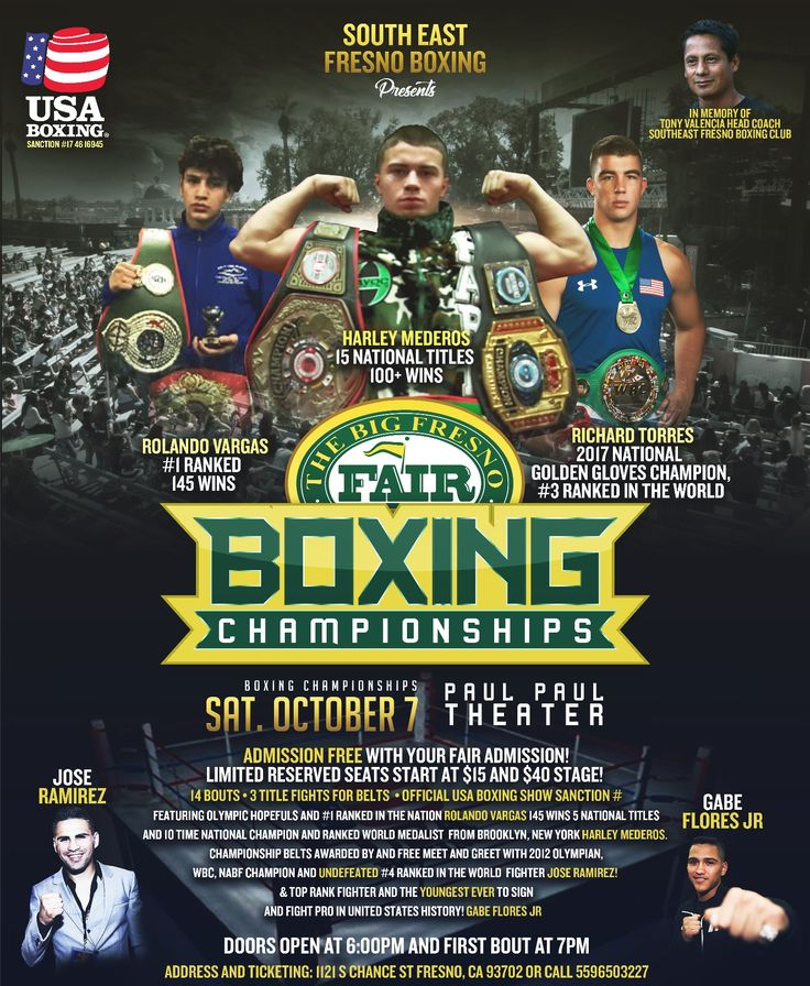 The Big Fresno Fair is excited to announce something different for the Paul Paul Theater – boxing! The Fair has partnered with South East Fresno Boxing Club to bring a USA Boxing® sanctioned event to the Paul Paul Theater on Sat, 10/7/17 that will be featuring USA Boxing® fighters (Olympic Boxing Program) from across the United States. General admission to the fight is FREE with your paid Fair admission!