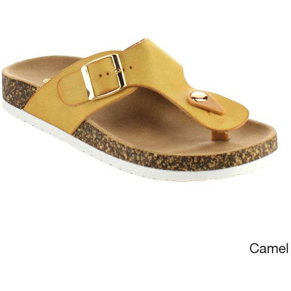 Top Moda Dime-42 Women's T-Strap Buckle Slip On Neutral Sandals ($26) ❤ liked on Polyvore featuring shoes, sandals, tan, slip on sandals, platform shoes, leather t strap sandals, platform sandals and buckle sandals