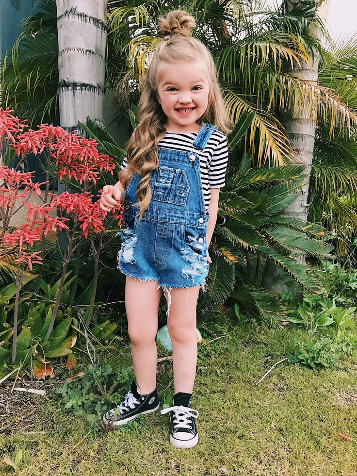 Little girl hairstyle half up half down  top knot messy bun distressed overalls @the_blonde_gypsy @fancylittlefox