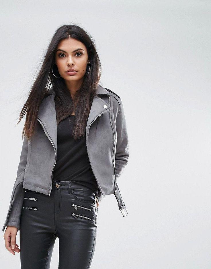 Lipsy Bonded Suedette Biker Jacket - Gray