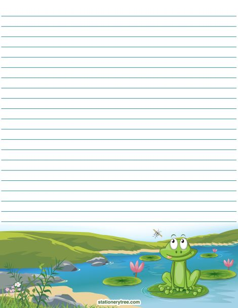 Printable frog stationery and writing paper. Multiple versions available with or without lines. Free PDF downloads at http://stationerytree.com/download/frog-stationery/