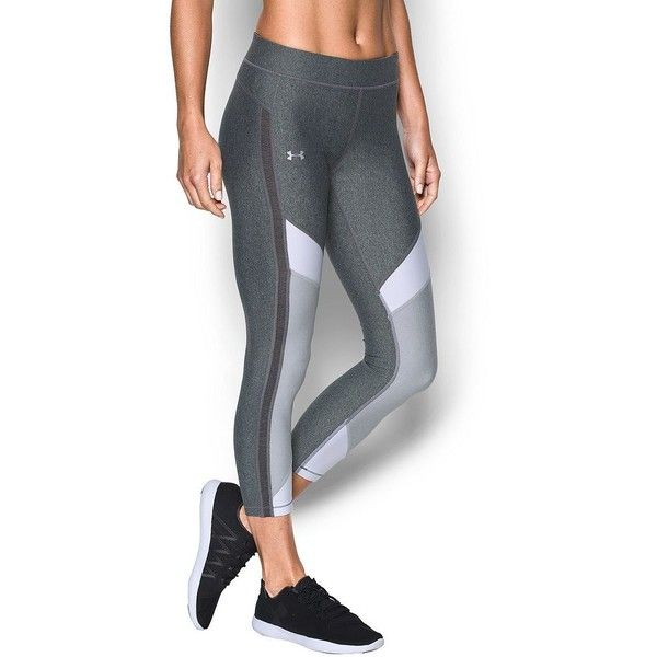 Women's Under Armour HeatGear Color Block Ankle Crop Leggings ($50) ❤ liked on Polyvore featuring activewear, activewear pants, grey other, under armour sportswear and under armour