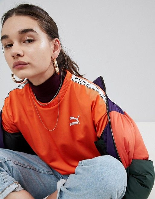 584850b60bf Puma   Puma Exclusive To ASOS Sweatshirt With Taped Side Stripe In Orange
