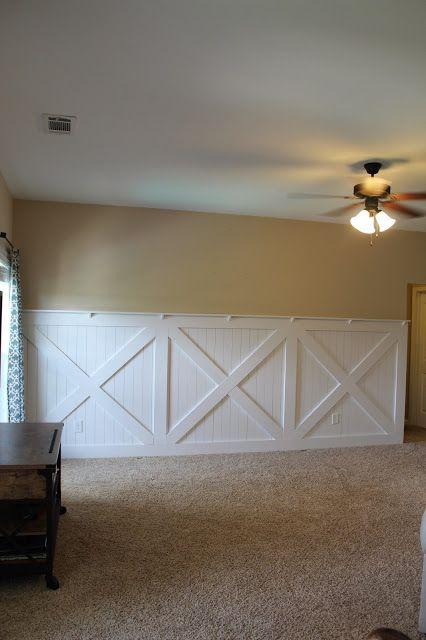 Barn door wainscoting wall treatment Tutorial remodelaholic.com #wainscoting #barn Door