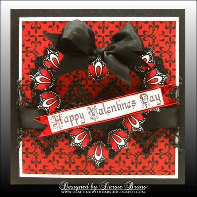 Valentine card using Winter Words and Lace Borders designed by Darsie Bruno