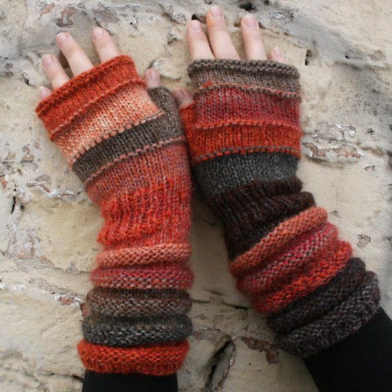 Paprika - Unmatched Hand Knit Wrist Warmers Fingerless Mittens in upcycled wool and kid mohair via Etsy