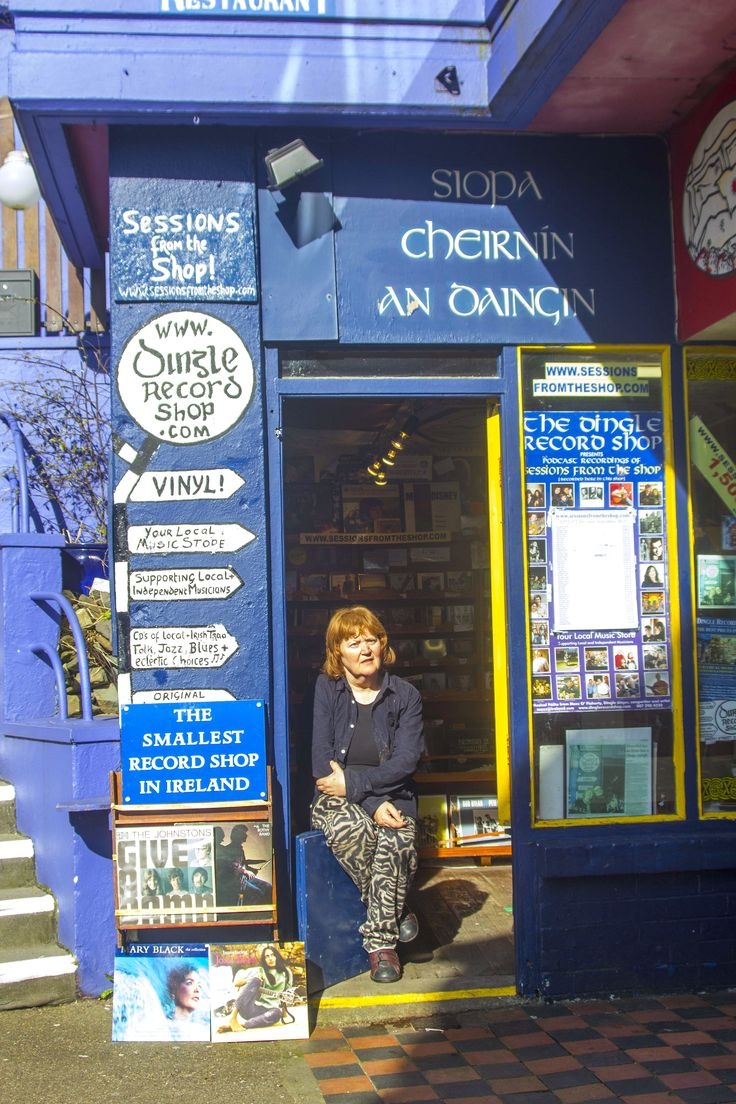 Mazz O'Flaherty outside Dingle Record Shop. www.dinglerecordshop.com