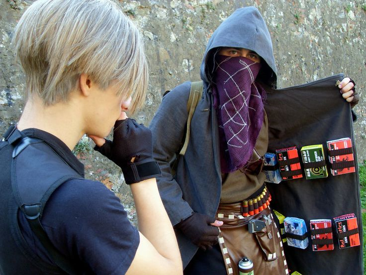 Resident Evil 4 Merchant & Leon Cosplay- What are you buying by Marivel87.deviantart.com on @deviantART
