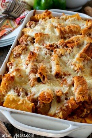 Three Cheese Baked Ziti With Meatballs and Sausage