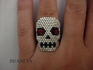 skull ring with crystal eyes - Bisaneta