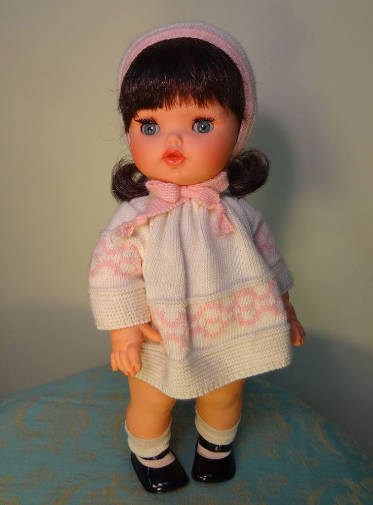 RARE Vintage ADORABLE FURGA TODDLER Baby Child Doll ITALY w/ WINTER KNIT OUTFIT #Dolls
