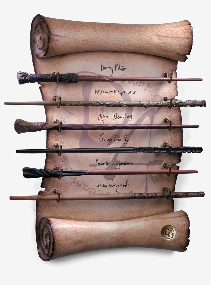 <div><i>He will only be gone from the school when none are loyal to him...</i></div><div><br></div><div>Show off your loyalty to Albus Dumbledore and your love for all things Potter with this deluxe wand collection. The wands of Harry Potter, Hermine Granger, Ron Weasley, Ginny Weasley, Neville Longbottom and Luna Lovegood, are all together in this exquisite piece of decor. They are held on a scroll of parchment-style di...