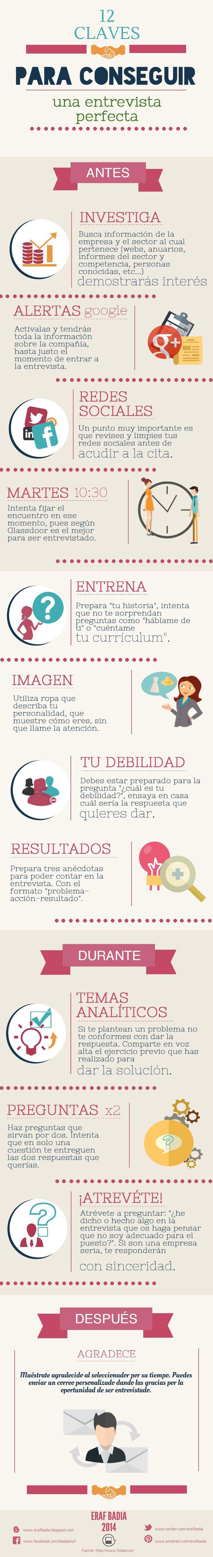 12 Claves para conseguir una entrevista perfecta #infografía