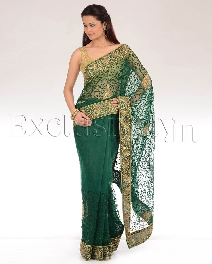 Emerald Green Sari With Intricately Embroidered Pallu - Exclusively In