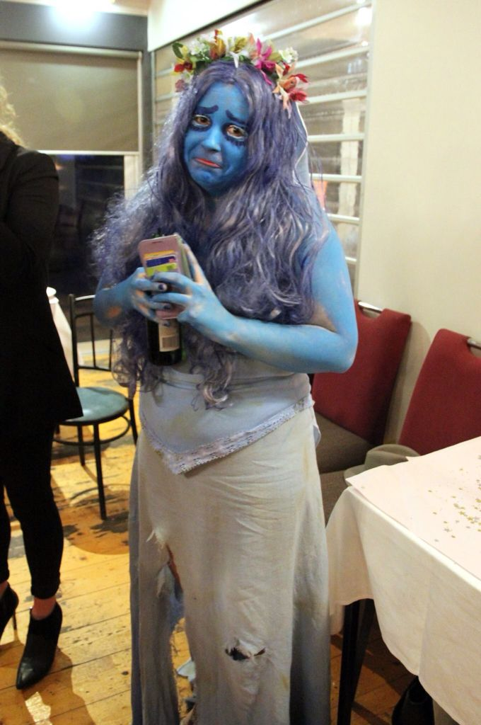Besties 21st dress up party! Yes I did make this by hand and I was the corpse bride and yes my blue is rubbing off but it was late and well she's back from the dead so it works ok ;)
