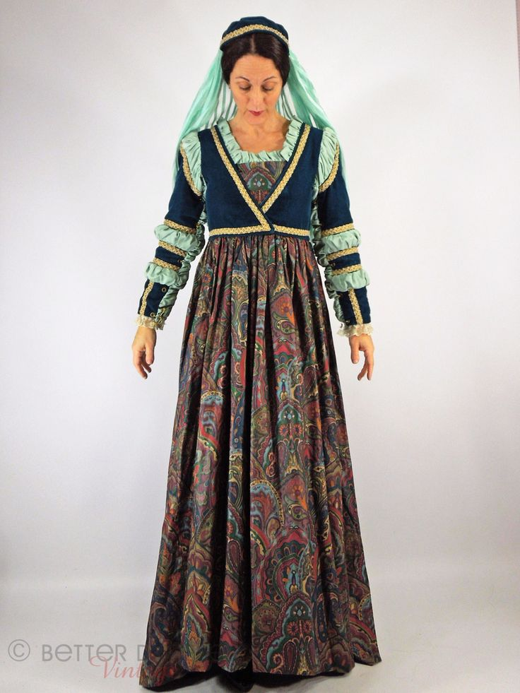 Tudor Dress & Juliet Cap Costume - sm, med