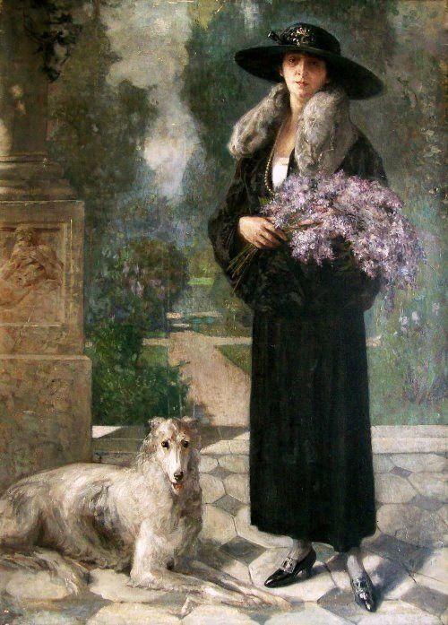 Vermont, Nicolae (b,1866)- Borzoi w Woman & Flowers -2b