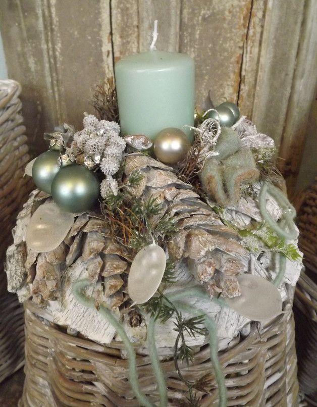Adventskranz - Adventskranz,weiß-mint,Birke,edel-Natur,Filz,grau - ein Designerstück von die-mit-den-blumen-tanzt bei DaWanda