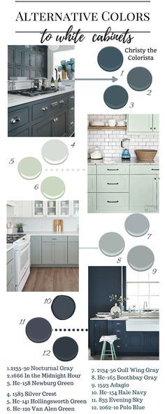 Great Benjamin Moore paint colors for cabinets!  Polo Blue, Newberg Green, Silver Crest, Hollingsworth Green, Boothbay Gray, Hale Navy and more