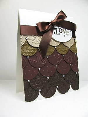 It looks like chocolates!Embossing Folder, Cards Ideas, Masculine Cards, Nice People, People Stamps, Stampin Up, Monochromatic Brown, Punch Art, Circles Punch