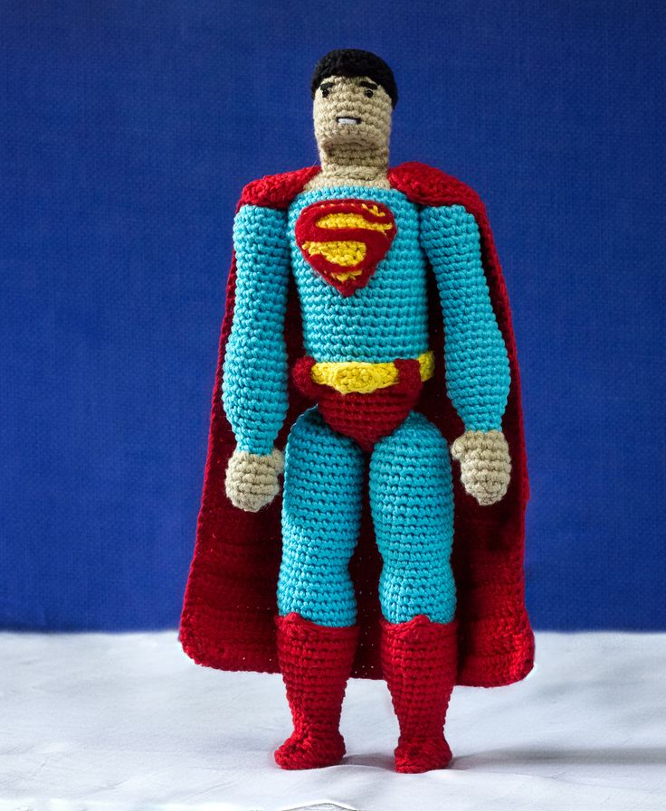 Realistic amigurumi doll of Superman. Crochet pattern by #tinyAlchemy