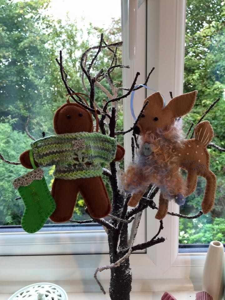 Here's my #Christmas2015 felt decorations. #Handstitched felt with #knitting #crochet + #embroidery £10 each + p&p