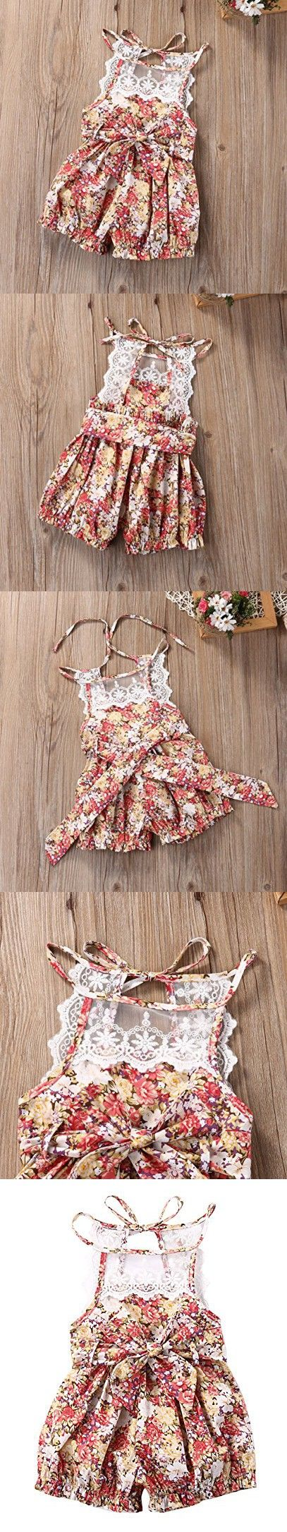 Baby Girls Lace Cotton Floral Rompers Toddler Sleeveless Jumpsuit Sunsuit Outfits(6-12M, floral)