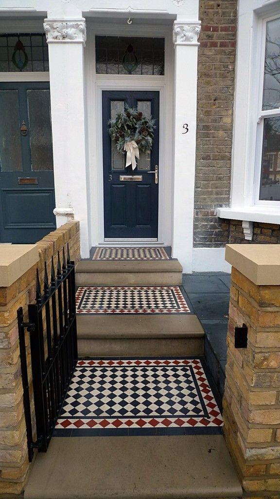 victorian mosaic tile path yorkstone bullnose steps brick wall coping caps slate paving brockley peckham dulwich wimbledon kingston sutton london