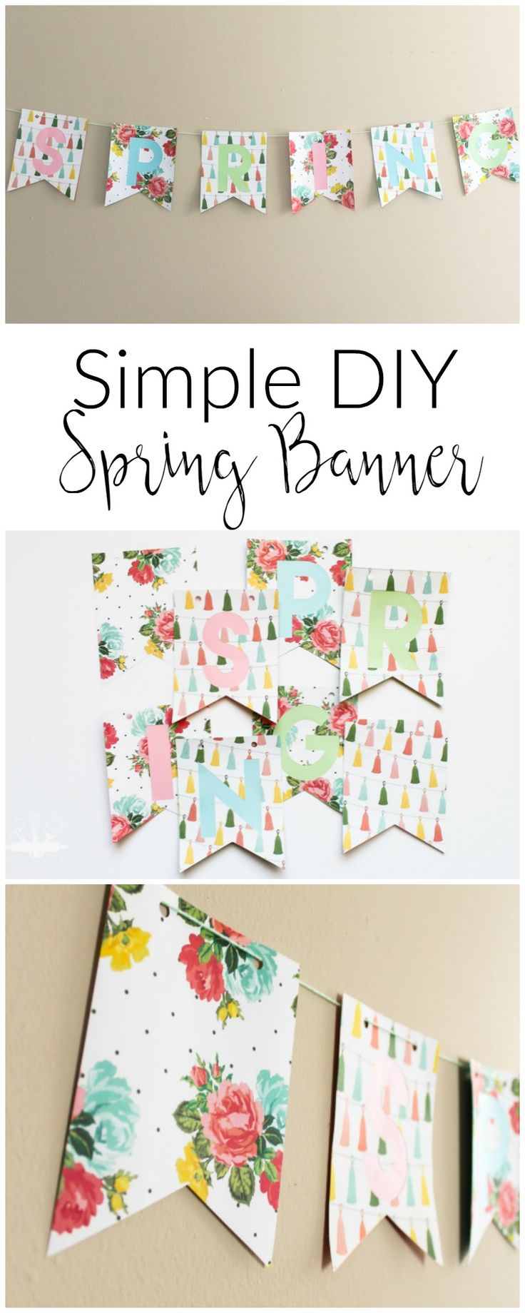Simple DIY Spring Banner made from pretty floral paper and baker's twine