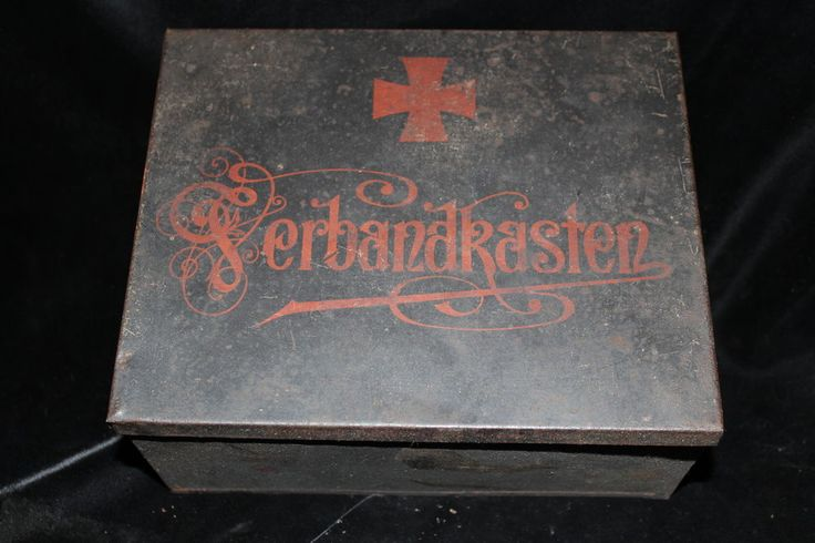Ausrüstung Blechdose leer Orginalfarbe Verbandskasten Militär 22x17x9cm  1WK