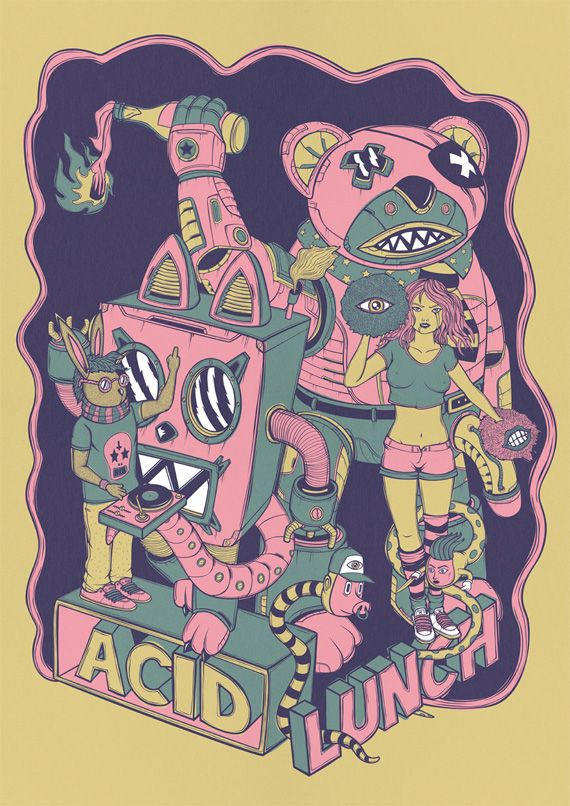 Acid Lunch: Animal Posters, Design Inspiration, Posters Prints, Andrea Moresco, Animal Them Posters, Posters Design, Posters Art, Bands Posters, Acid Lunches
