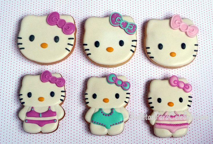 Galletas Hello Kitty con bañador y lazos a juego