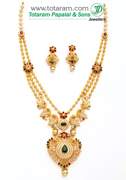 22K Gold 'Peacock' Necklace & Ear Hangings Set with Ruby, Emerald  , Cz & South Sea Pearls
