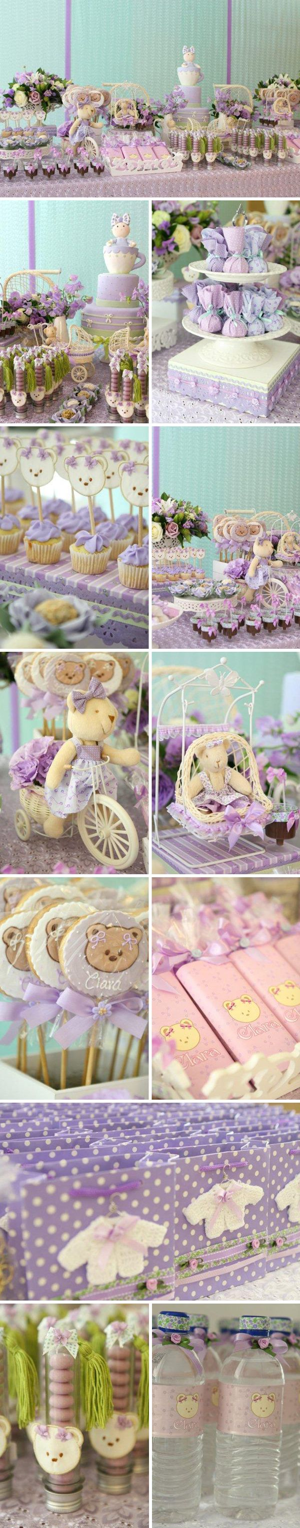 This is a baby shower for a little girl.  I just love the shades of lavender and green!