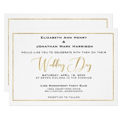 Elegant Black and Gold Script and Border Wedding Card - script gifts template templates diy customize personalize special