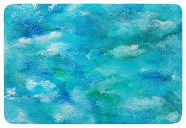 "Rosie Brown ""Ocean Waters"" Blue Aqua Memory Foam Bath Mat (24"" x 36"") - contemporary - Bath Mats - KESS Global Inc."