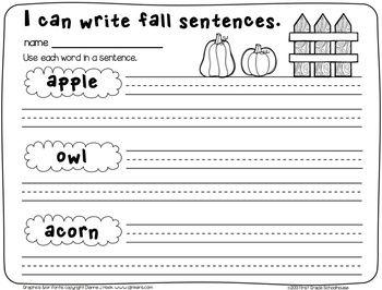 fall writing activities first grade