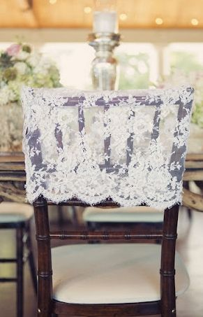 {It's in the Details} Chair Decor - Because Chairs Deserve to Look Pretty Too!shabby chic, lace, vintage, rustic, elegant, bridal, chair, chairs, decor, decoration, decorations, details, reception, shower, table, tables, theme, vision, classic, southern - Lover.ly