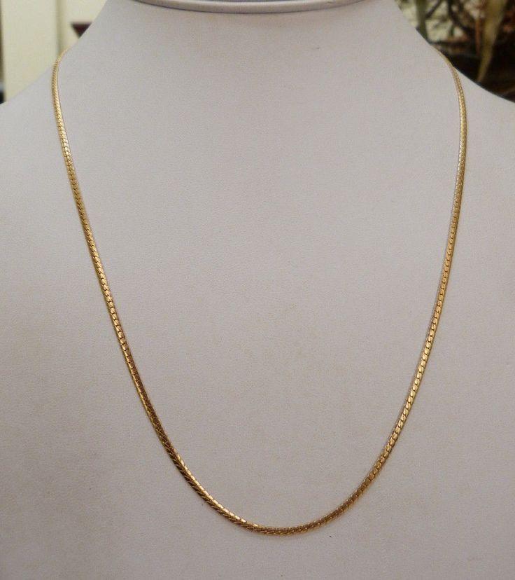 "20 1/8"" LONG 14K GOLD HERRINGBONE CHAIN FLEXIBLE NECKLACE 6.3 GRAMS #Chain"