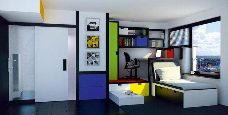 Niewielki metraż sprawia, że nie jest to oferta dla domatorów. Proteza kuchni i wspólna pralnia to rozwiązania, które mogą się jednak podobać młodym ludziom, żyjącym szybko, takim, którym mieszkanie służy bardziej jako sypialnia. Od Muratorplus.