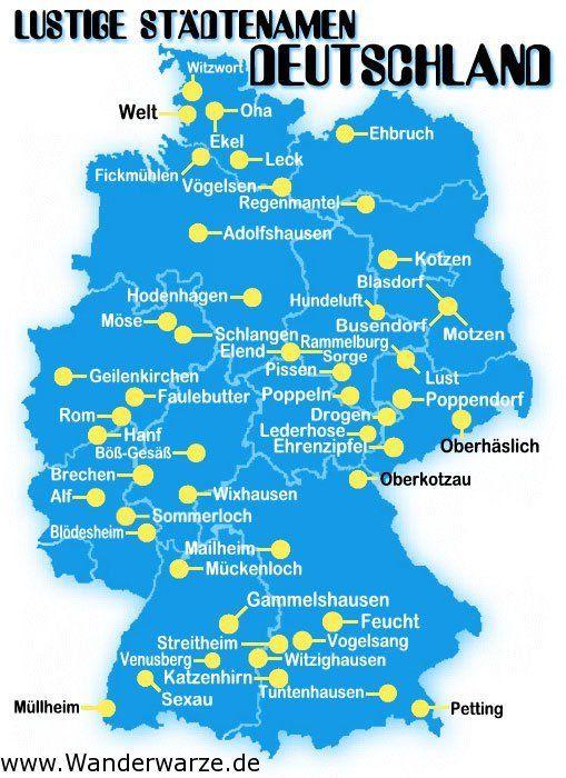 Duitse steden met grappige namen. Laat de leerlingen een stad van de kaart kiezen en er 5 feitjes over opzoeken.