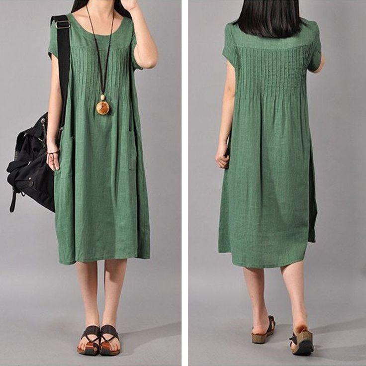 Women Cotton Linen Loose Fitting Dress – Buykud