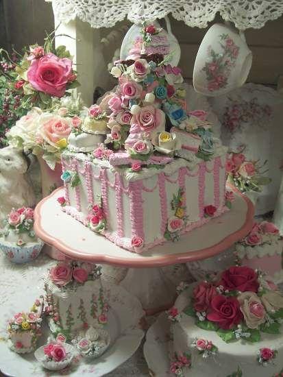 Shabby Cottage Pink Rose Fake Cake