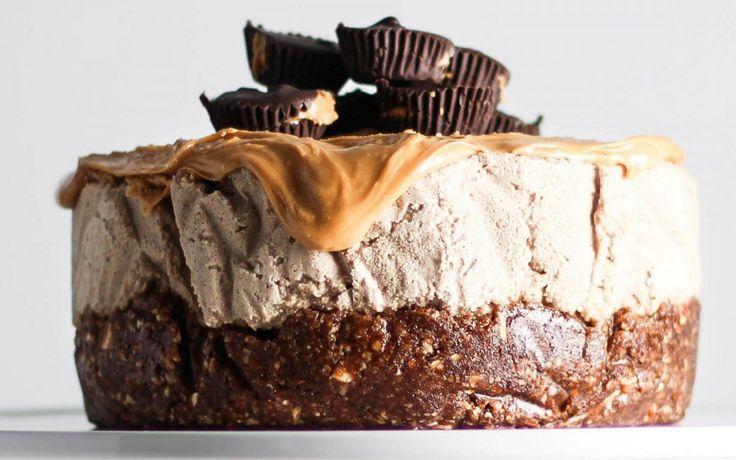 No Bake Peanut Butter Mocha Cake (Vegan)