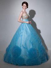 Vestido de quinceañera de organza sin tirantes con escote de corazón-No.2