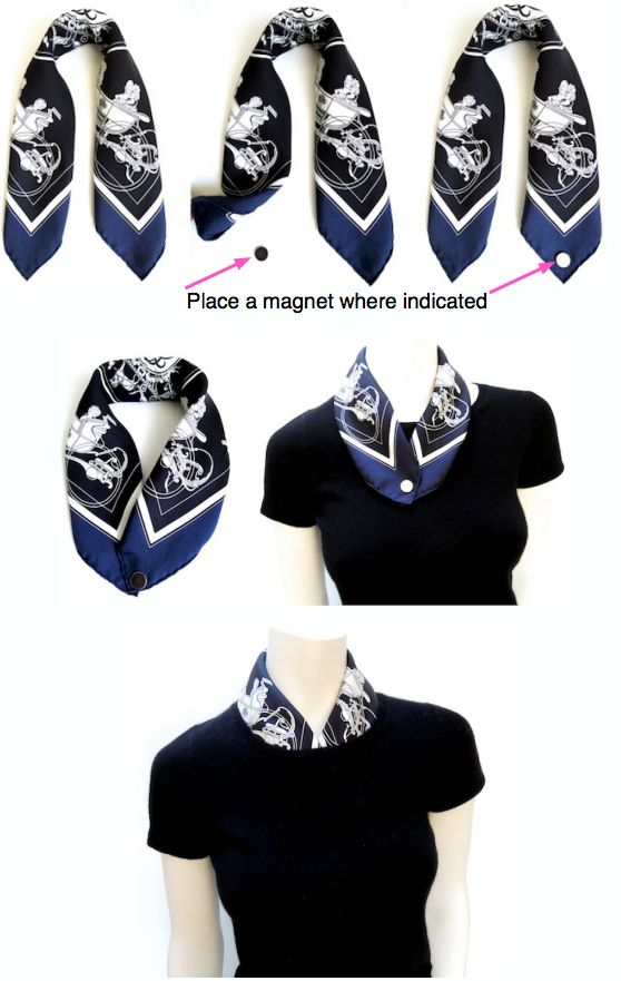 How to line a crew neck with a Gavroche (pocket square scarf)