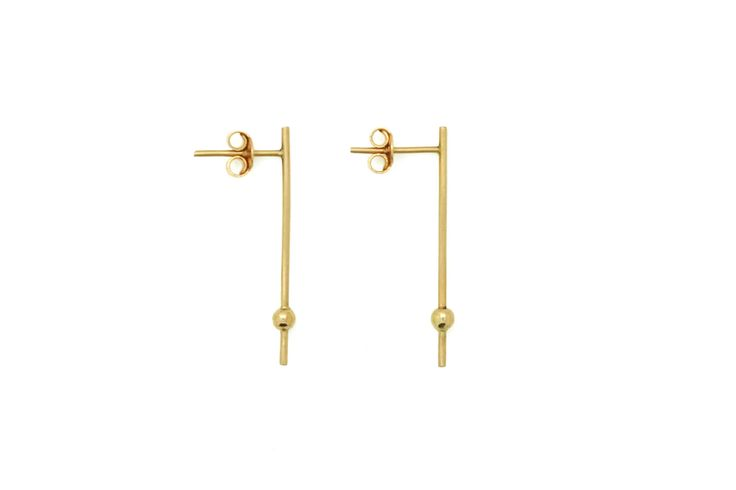Bar orb earrings - 18k gold