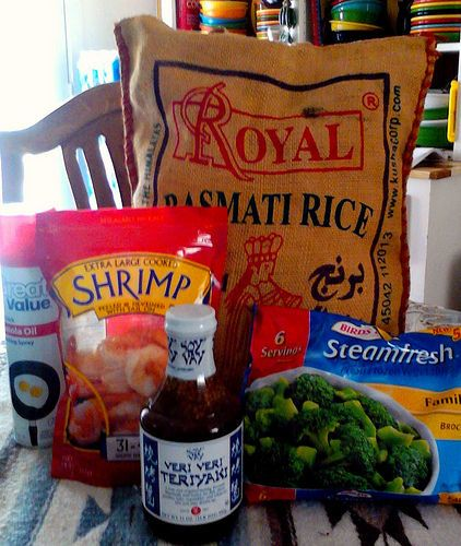 Easy precooked frozen shrimp/steamfresh broccoli/rice and teriyaki sauce recipe.