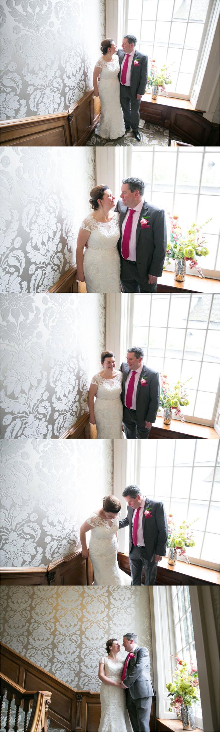 large window at mildenhall hotel wedding with happy couple