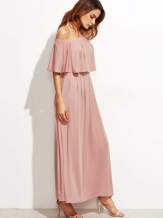 Milumia Women s Off The Shoulder Layered Ruffle Party Maxi Dress ... 51f1c1457